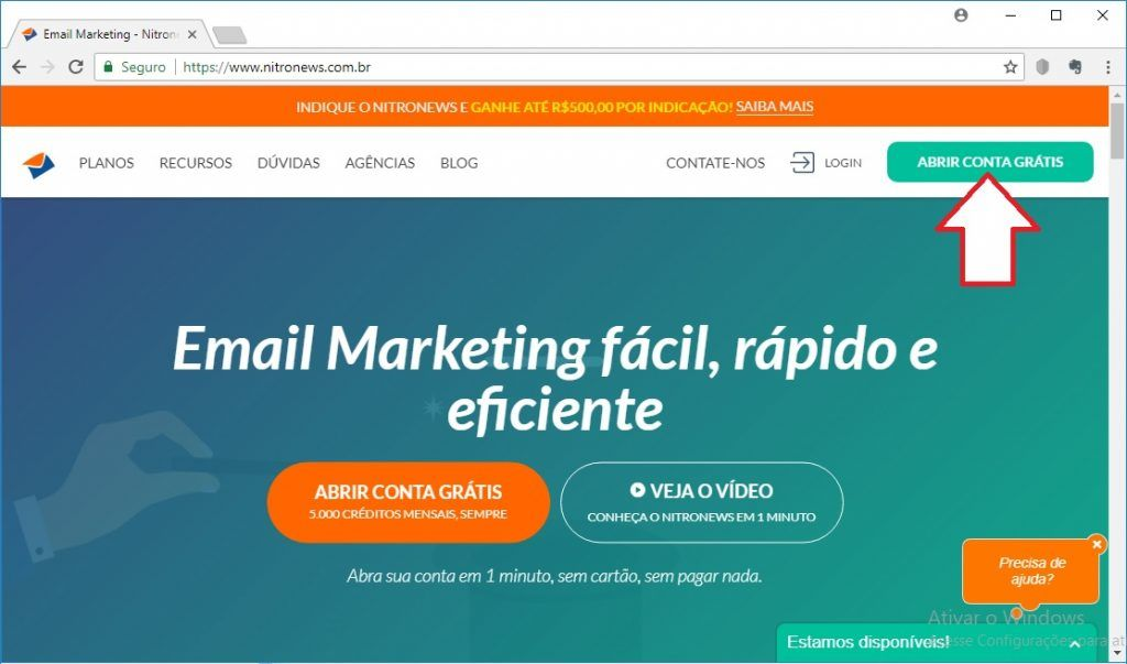 Abrir Conta de Email marketing Gratis